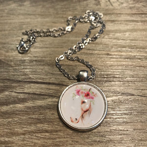 Floral Horse Necklace