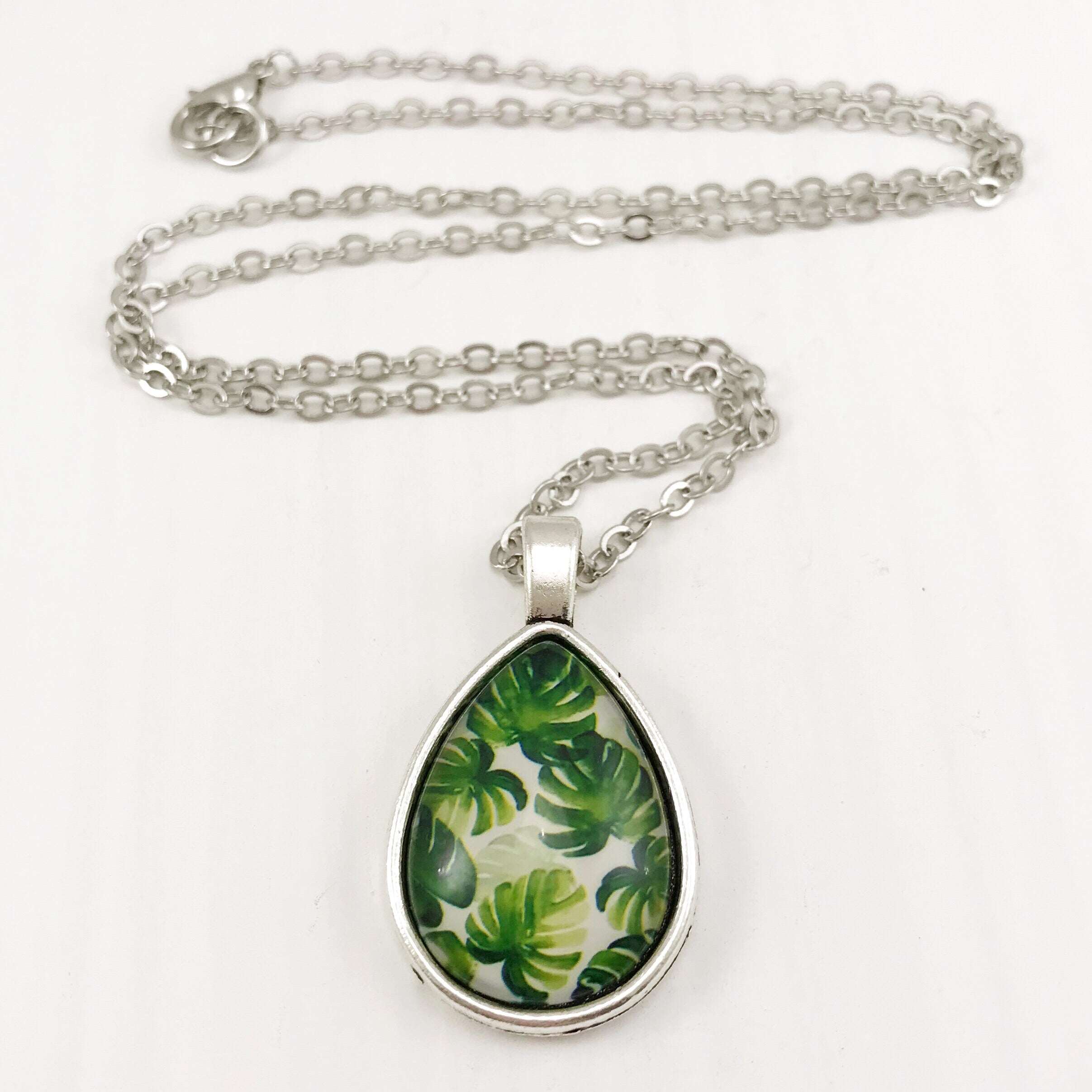 Tropical Leaves Teardrop Necklace - Antique Silver