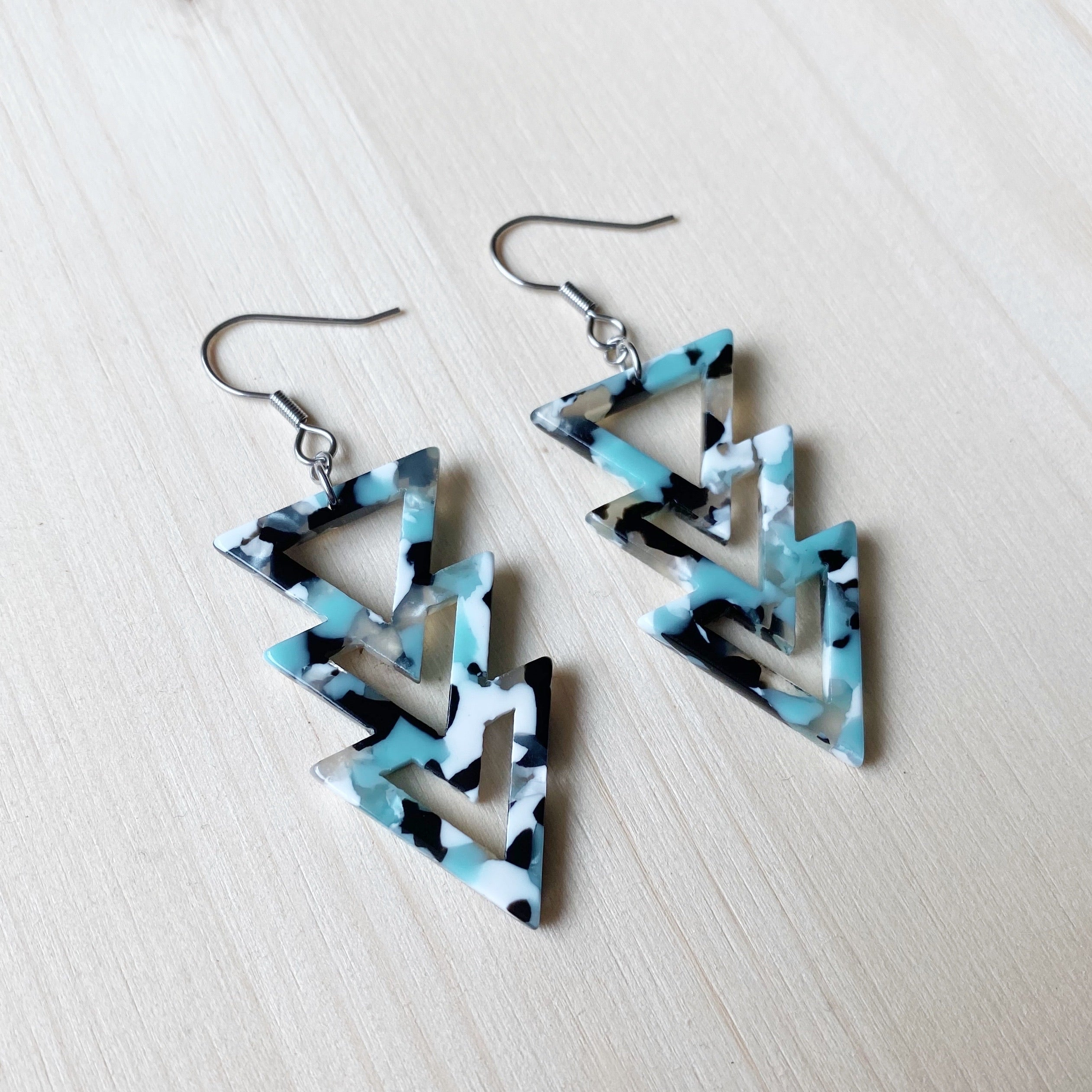 Triangle Drop Acetate Earrings - Blue, White and Black