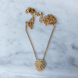 Monstera Necklace - Gold