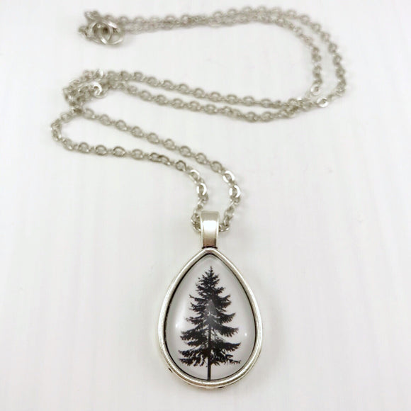 Tree Teardrop Necklace - Antique Silver