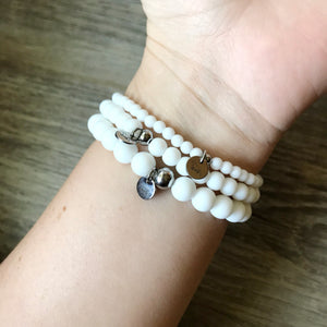 White Agate Bracelet - 8mm