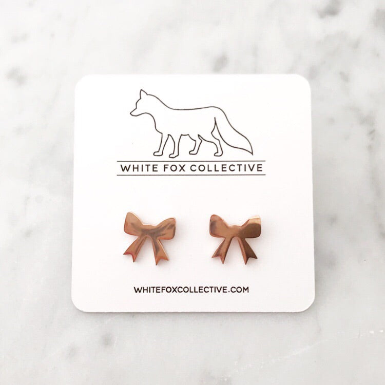 Bow Earrings - Rose Gold