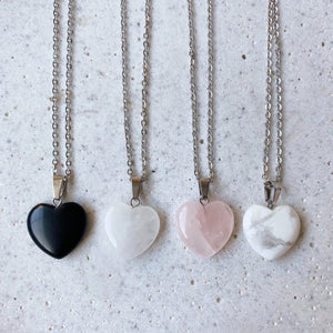 Stone Heart Necklace - Obsidian