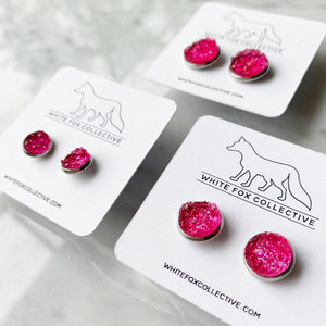 Faux Druzy Earrings - Malibu Pink