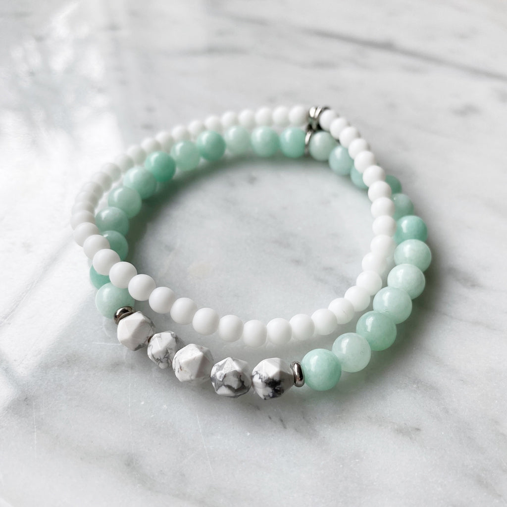 Amazonite and White Agate Bracelet Set 6mm - 2 Piece