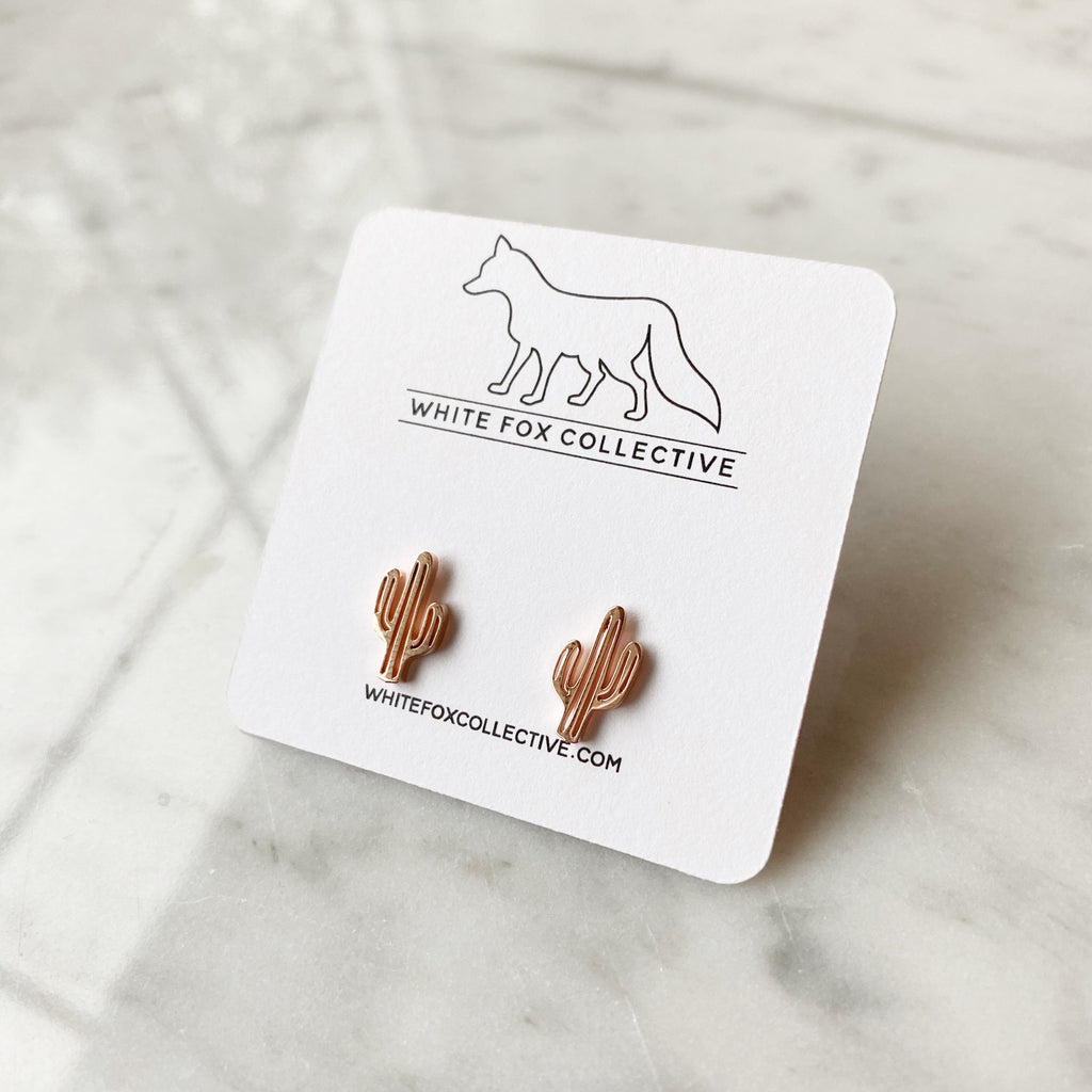 Cactus Earrings - Rose Gold