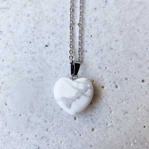 Stone Heart Necklace - Howlite