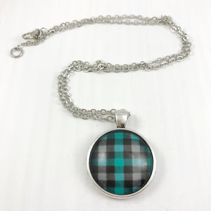 Teal Plaid Necklace