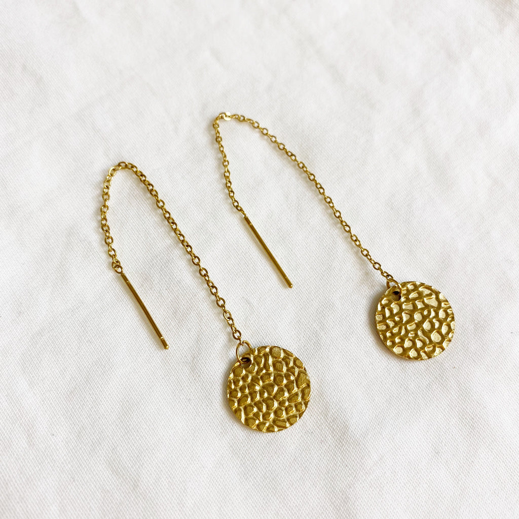 Threader Earrings - Gold Coin
