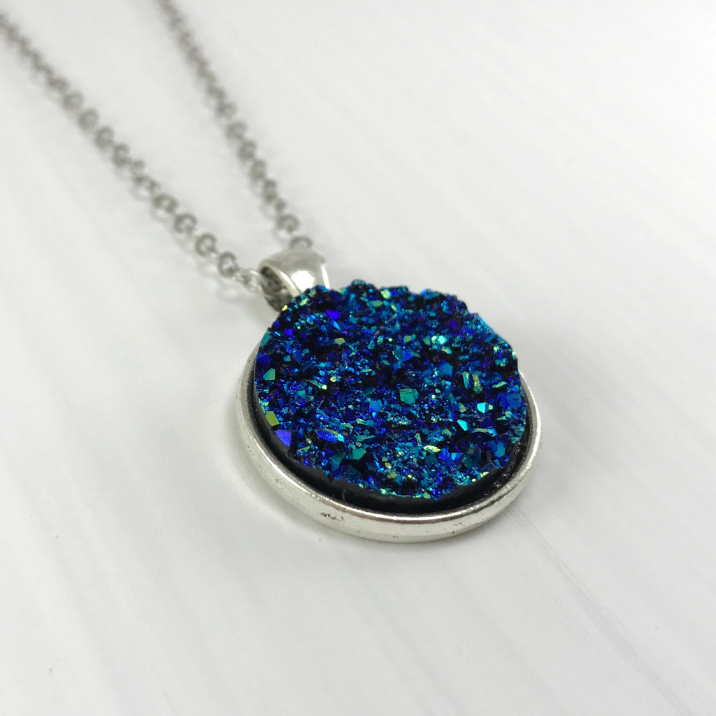 Midnight Blue Faux Druzy Necklace - Large