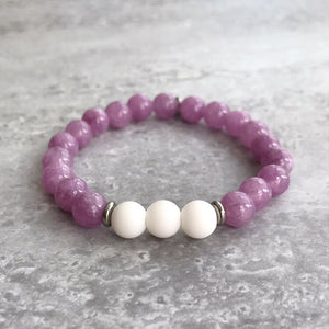 Lilac Angelite and White Agate Bracelet - 8mm