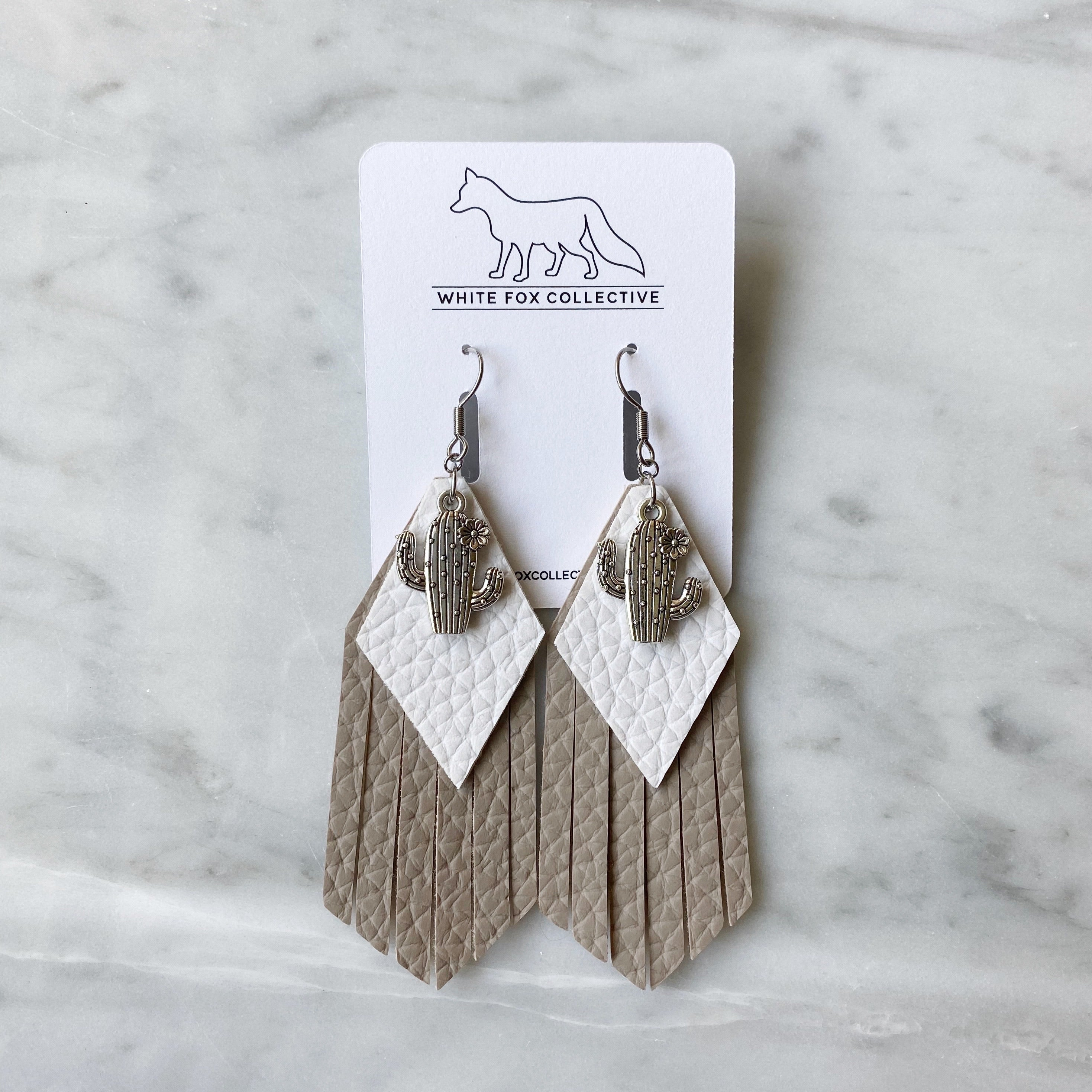 White and Sand Cactus Tassel Vegan Leather Earrings