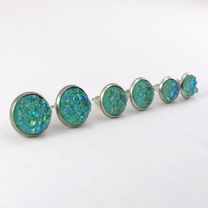 Aquamarine Faux Druzy Earrings