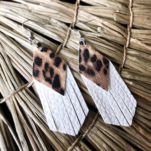Leopard and White Tassel Vegan Leather Earrings