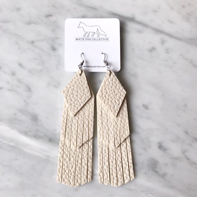 Cream Tassel Vegan Leather Earrings