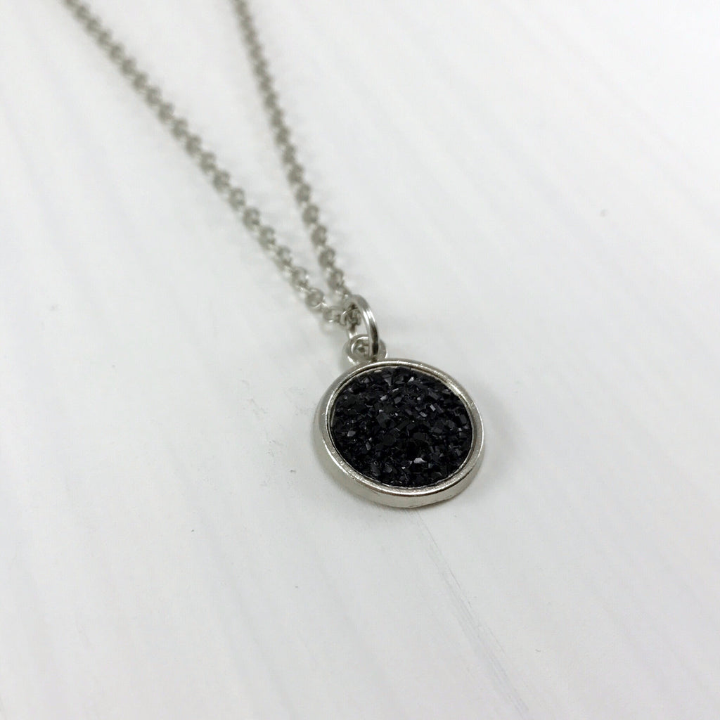 Black Faux Druzy Necklace - Small