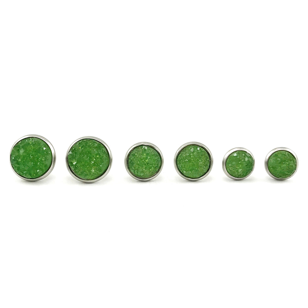 Green Faux Druzy Earrings