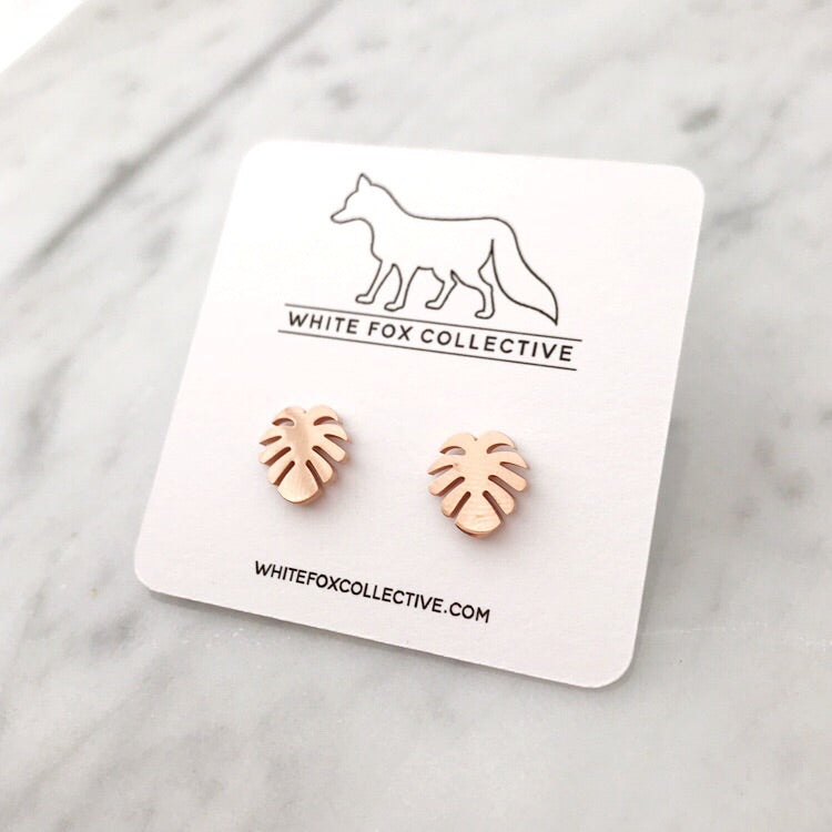 Monstera Leaf Earrings - Rose Gold