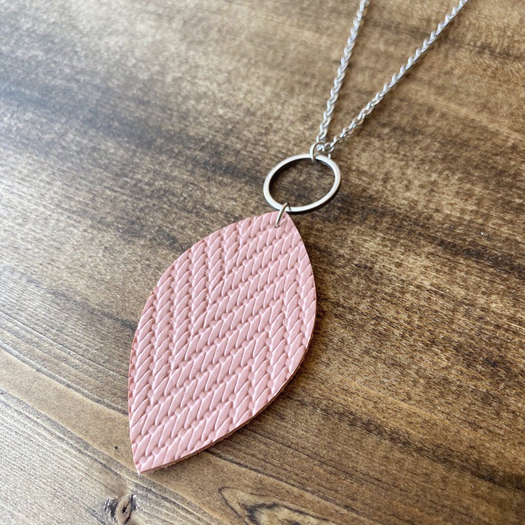 Leaf Necklace - Dusty Rose