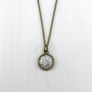 Silver Faux Druzy Necklace - Small