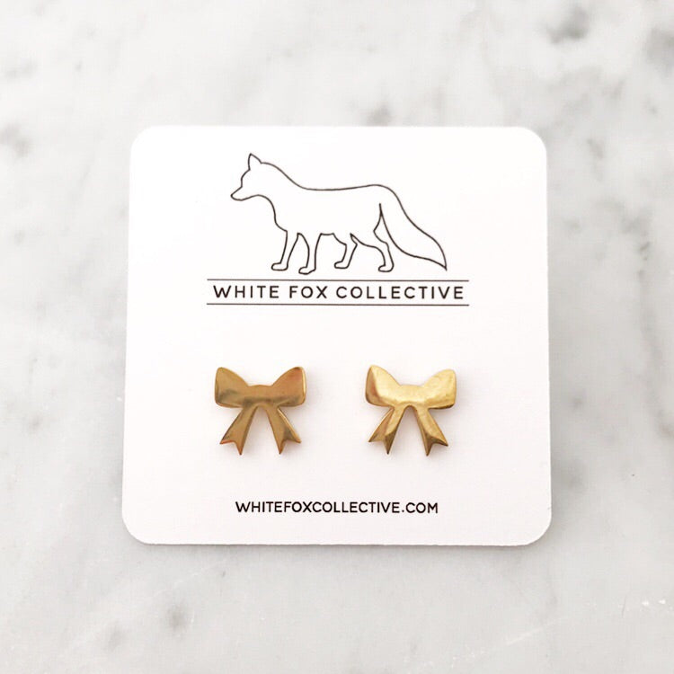 Bow Earrings - Gold
