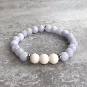 Light Blue Angelite and White Agate Bracelet - 8mm