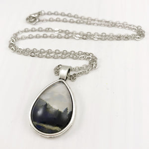 Forest Landscape Teardrop Necklace - Antique Silver