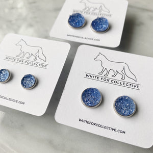 Faux Druzy Earrings - Sky Blue