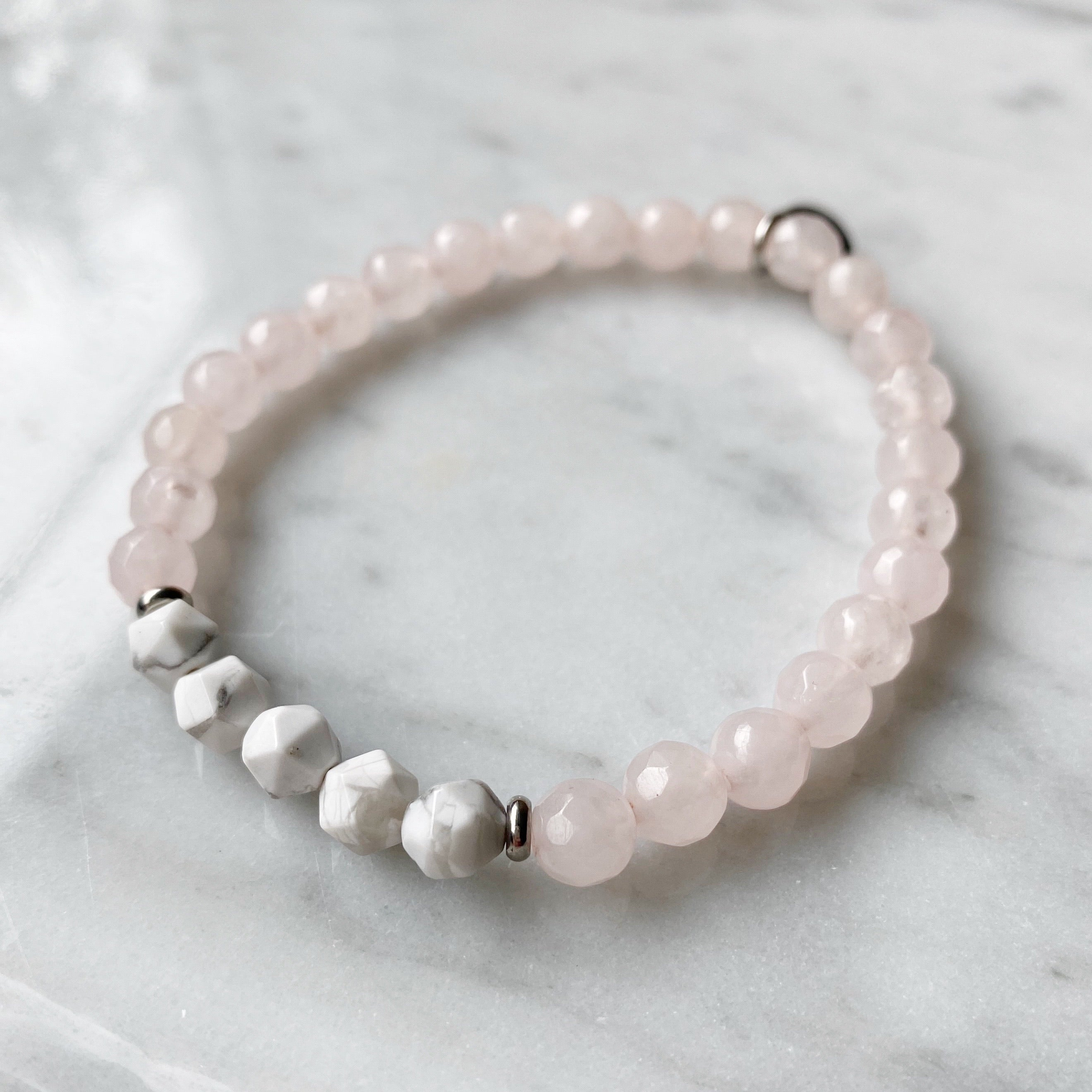 Amazonite and Rose Quartz Bracelet Set - 4 Piece