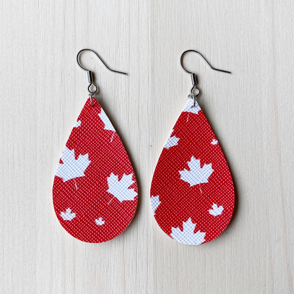 Maple Leaf Vegan Leather Teardrop Earrings