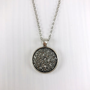 Gunmetal Faux Druzy Necklace - Large