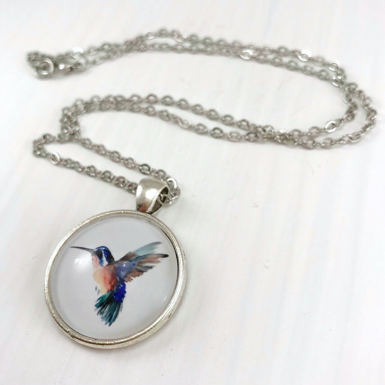 Hummingbird Necklace - Antique Silver