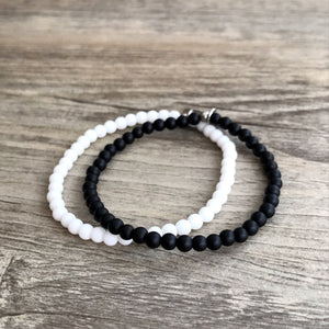 Black and White Bracelet Set - 2 Piece