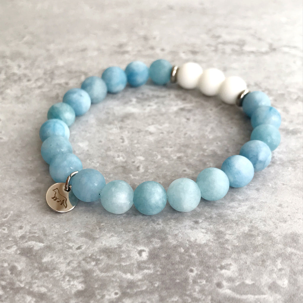 Blue Chalcedony and White Agate Bracelet - 8mm