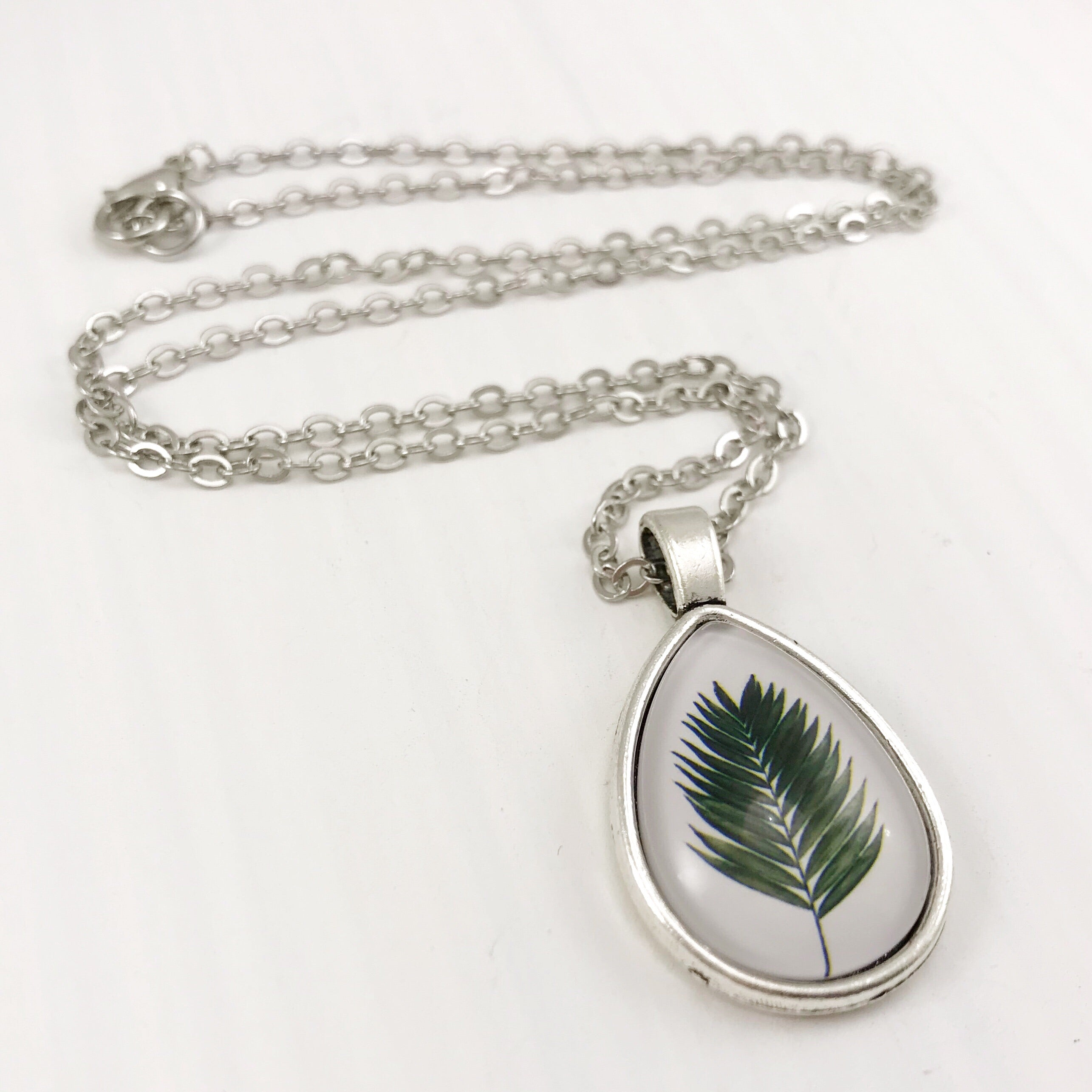 Fern Teardrop Necklace - Antique Silver