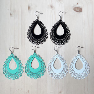 Lace Teardrop Earrings - White