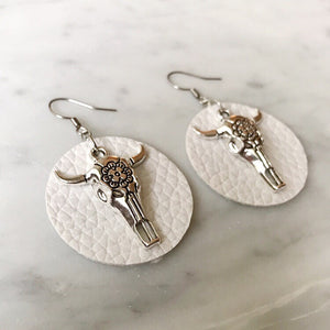 White Vegan Leather Bull Skull Earrings
