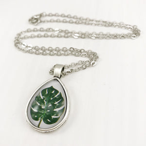 Monstera Leaf Teardrop Necklace - Antique Silver