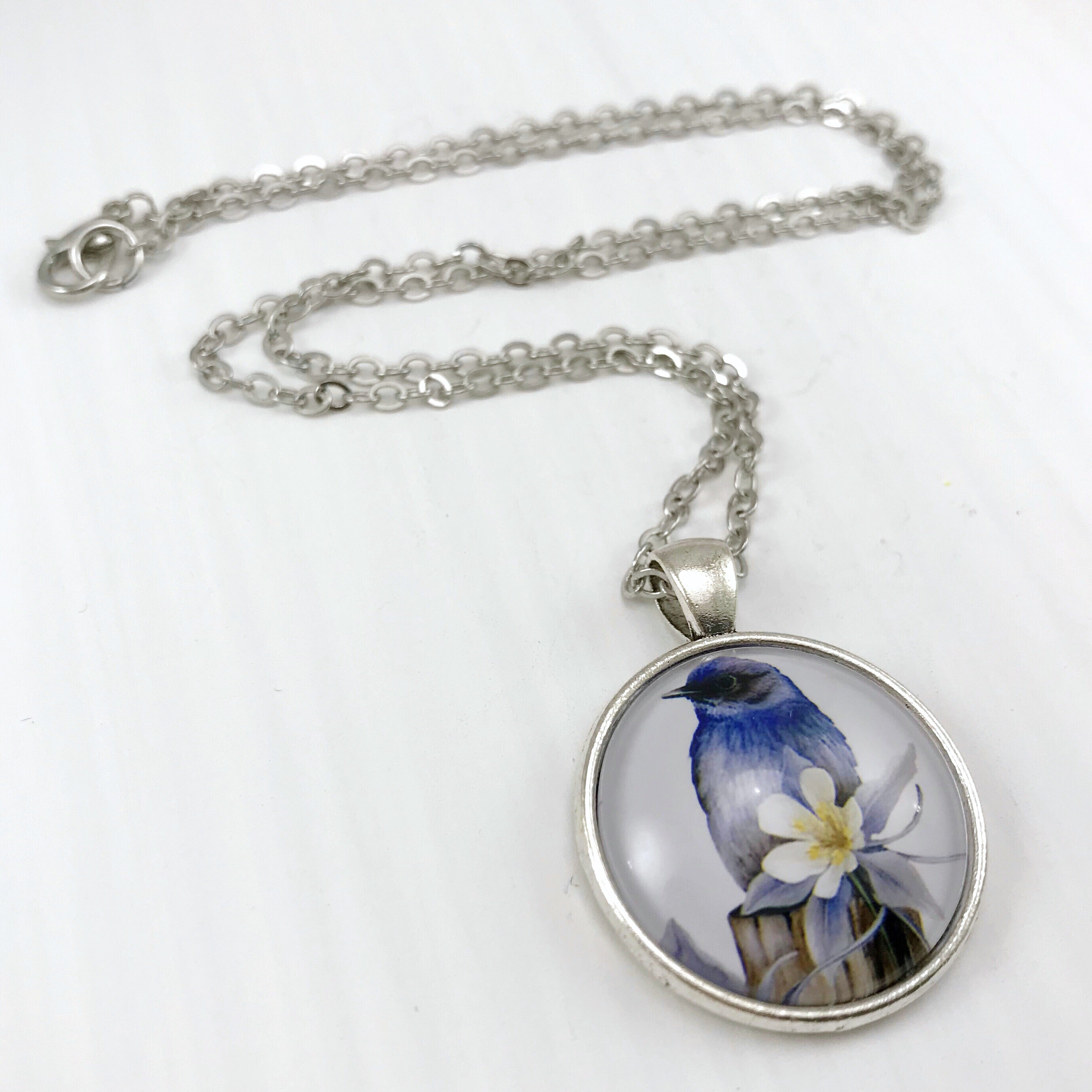 Blue Bird Necklace - Antique Silver