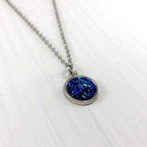 Midnight Blue Faux Druzy Necklace - Small