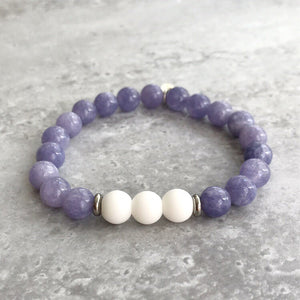 Lavender Angelite and White Agate Bracelet - 8mm