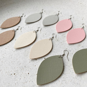 Leaf Earrings - Grey