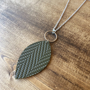 Leaf Necklace - Olive
