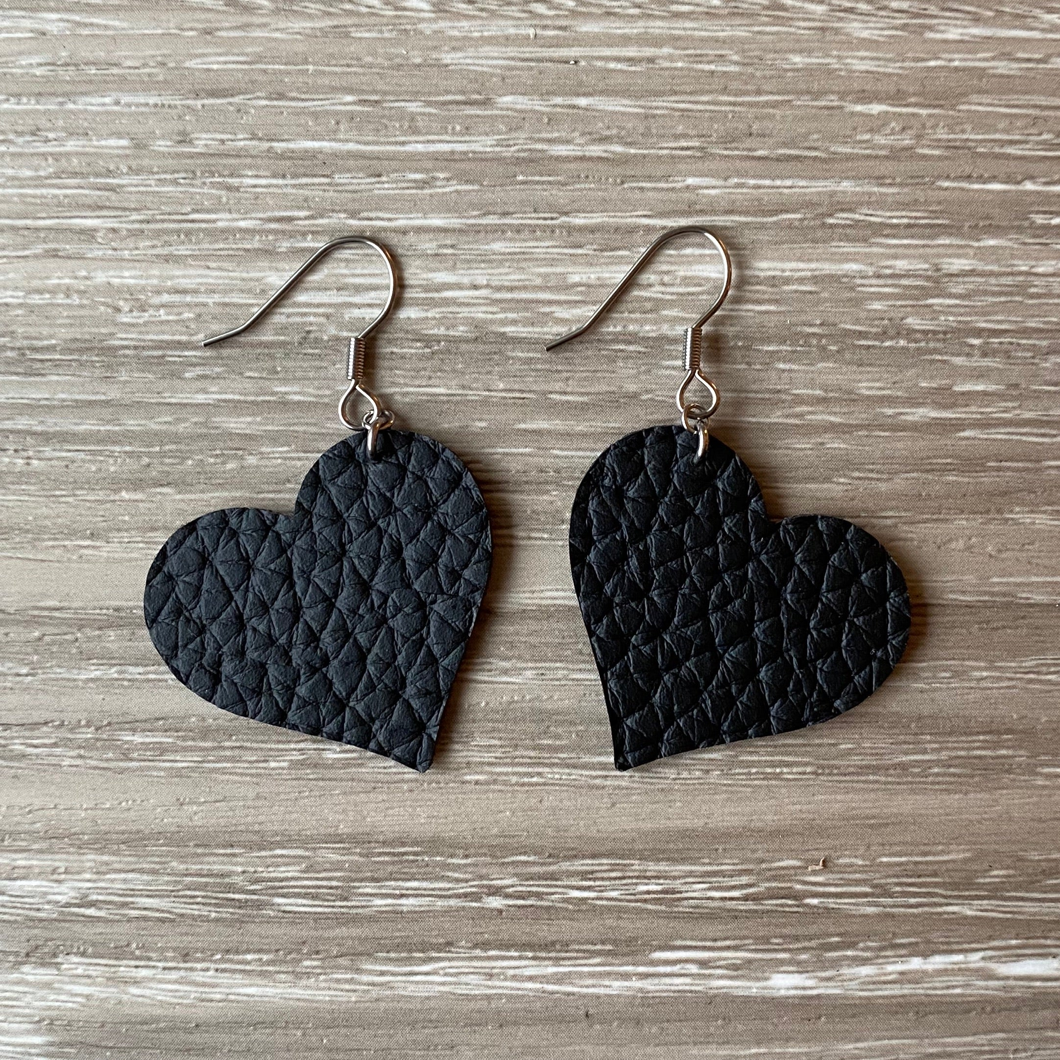 Black Heart Vegan Leather Earrings