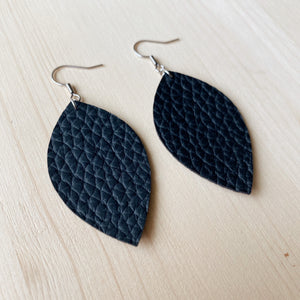 Leaf Earrings - Black