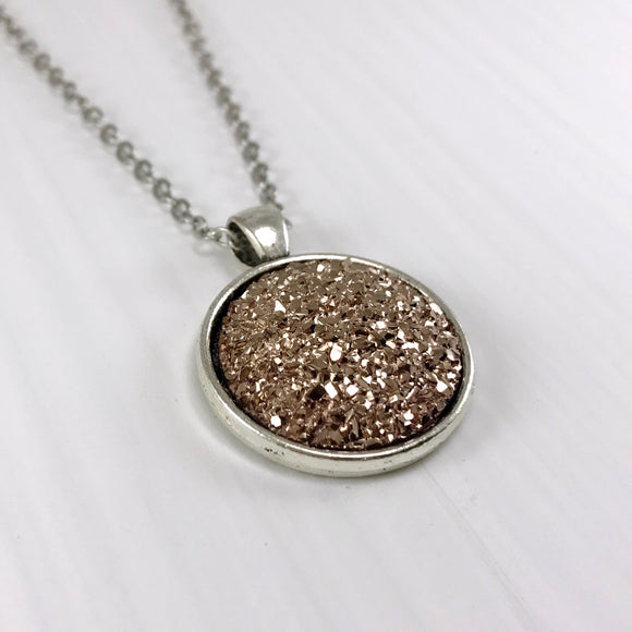 Dark Champagne Faux Druzy Necklace - Large