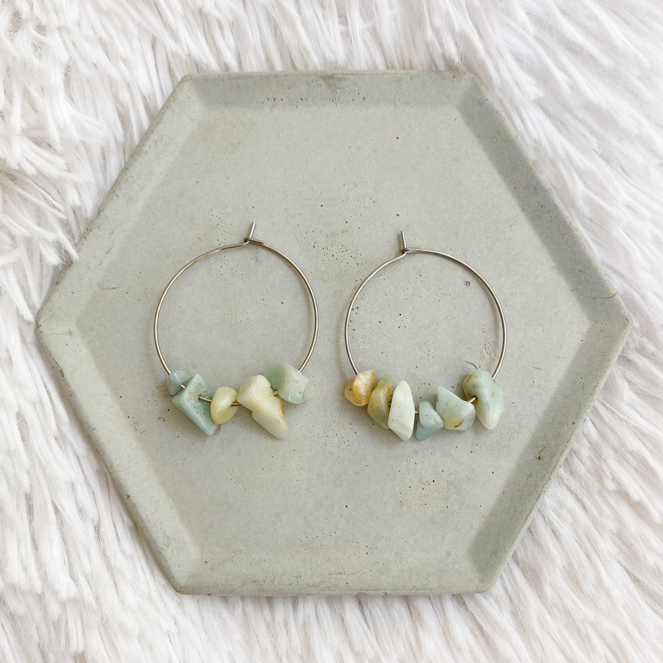 Stone Hoop Earrings - Amazonite