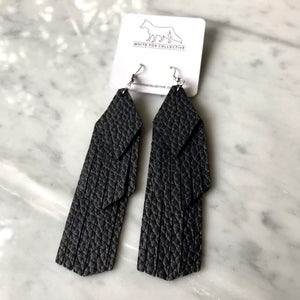 Black Tassel Vegan Leather Earrings