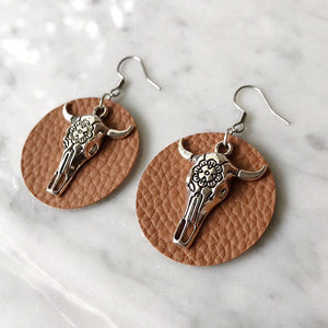 Cognac Vegan Leather Bull Skull Earrings